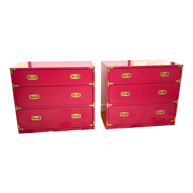 Campaign Lacquered Fuschia Bachelors Chests - a Pair For Sale