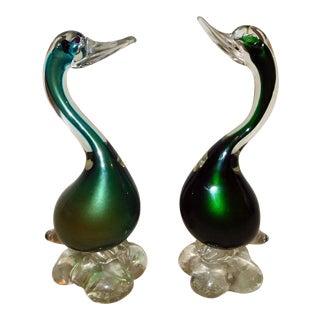 Vetro Artistico Duck Figurines - a Pair For Sale