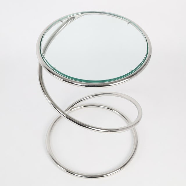 1970's VINTAGE PACE COLLECTION CHROME SPRING SIDE TABLES- A PAIR For Sale In New York - Image 6 of 11