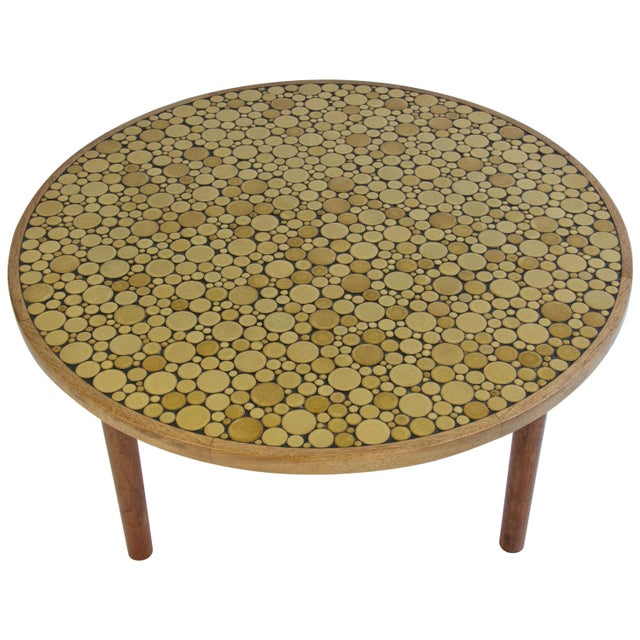 Gold Ceramic Tile-Top Coffee Table by Gordon and Jane Martz For Sale - Image 8 of 8