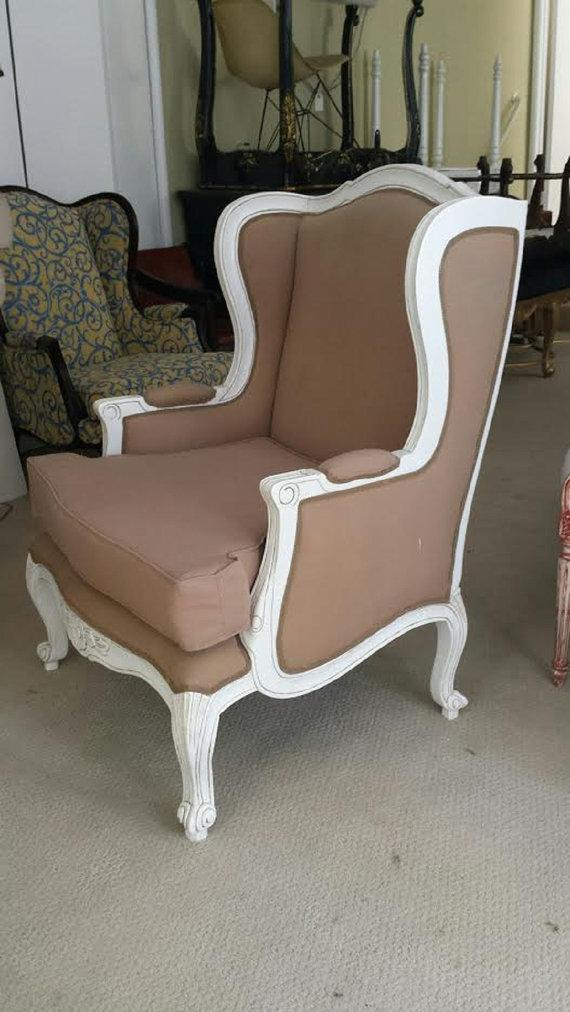Fabulous French Wing Back Chair In The French Shabby Country Chic Style.  The Wooden Frame