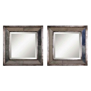 Uttermost Davion Antiqued Silver Leaf Square Wall Mirrors - a Pair