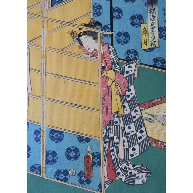 Early 19th Century Antique Japanese Ukiyo-E Woodblock Triptych of Prince Genji by Utagawa Kunisada 1786-1865 For Sale - Image 5 of 11