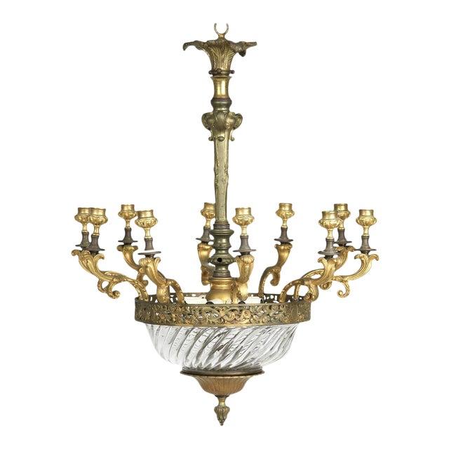 Louis XV Gilt Bronze & Domed Glass Chandelier For Sale