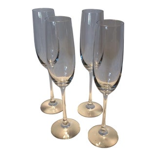 Crystal St. Claire Champagne Flutes - Set of 4 For Sale