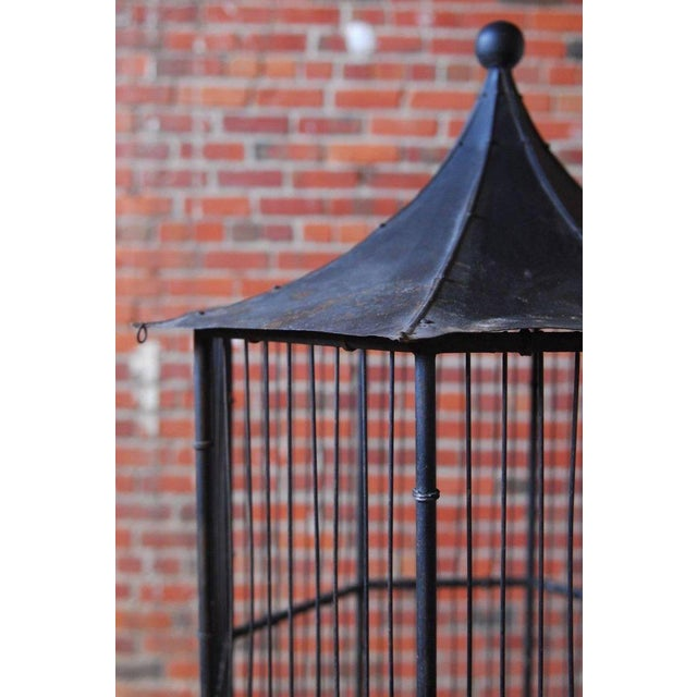 Chinoiserie Faux Bamboo Pagoda Standing Bird Cage - Image 8 of 9