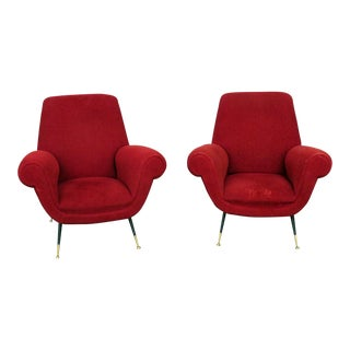 Italian Modern Red Upholstered Lounge Chairs - a Pair