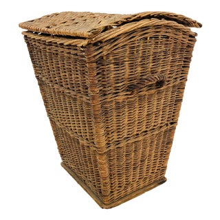Antique Woven Wicker Hamper Basket For Sale
