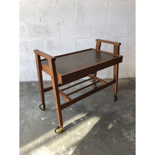 Vintage Mid Century Modern Danish Style Rolling Media Cart For Sale - Image 4 of 13