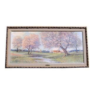 """Farm With Cherry Blossoms """"Spring F. Haller"""" For Sale"""
