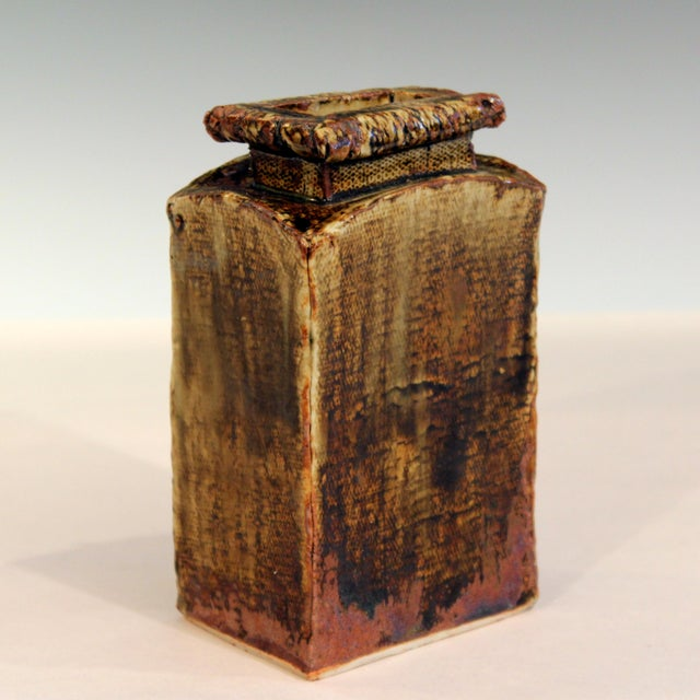 Ceramic Vintage Studio Pottery Slab Wabi Sabi Rectangular Square Vase Signed Ikebana For Sale - Image 7 of 9