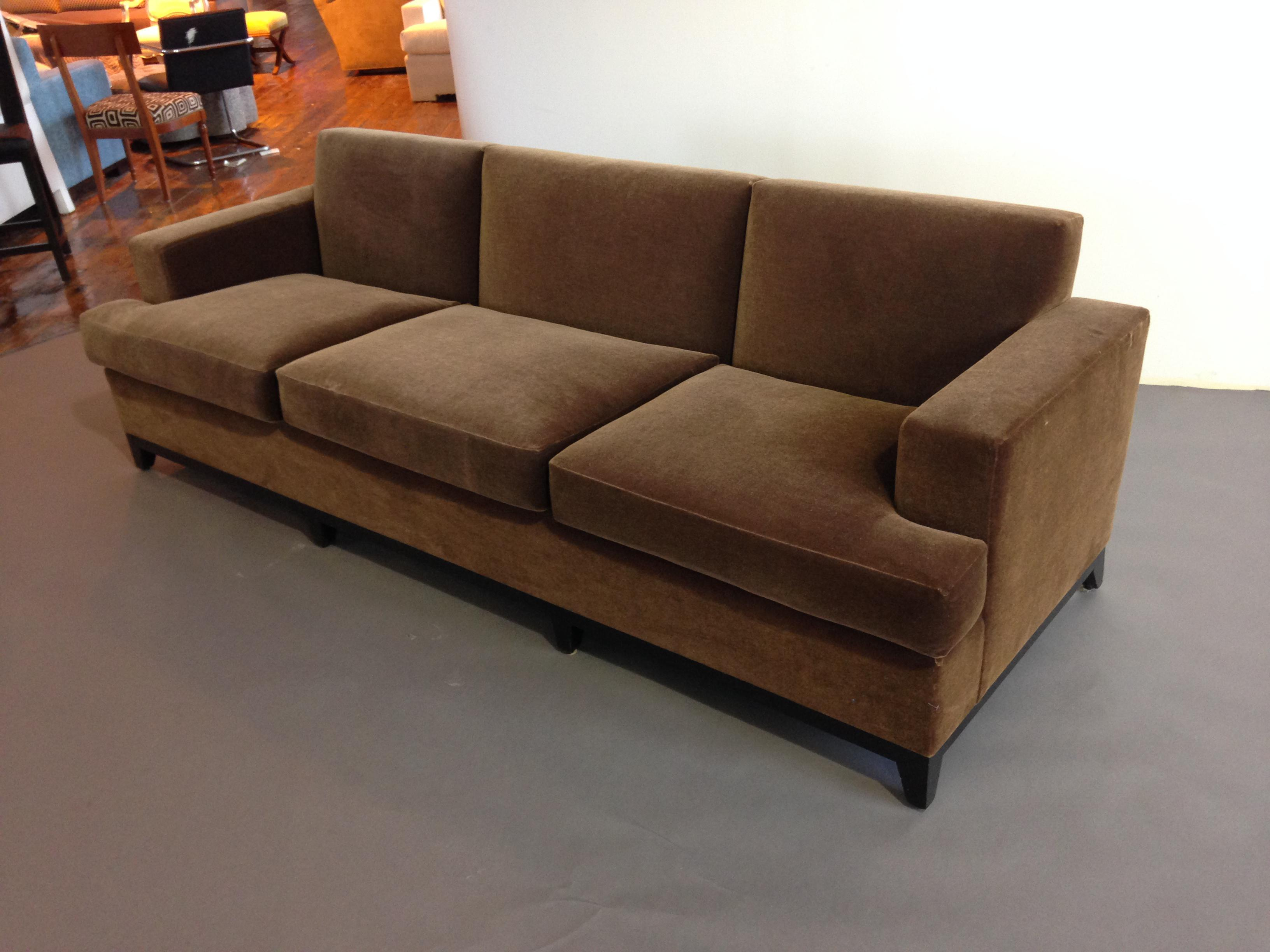 Captivating Brown Mohair 3 Seater Sofa   Image 2 Of 3