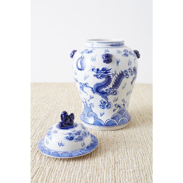 Oversized Chinese Blue and White Porcelain Ginger Jar For Sale - Image 11 of 13