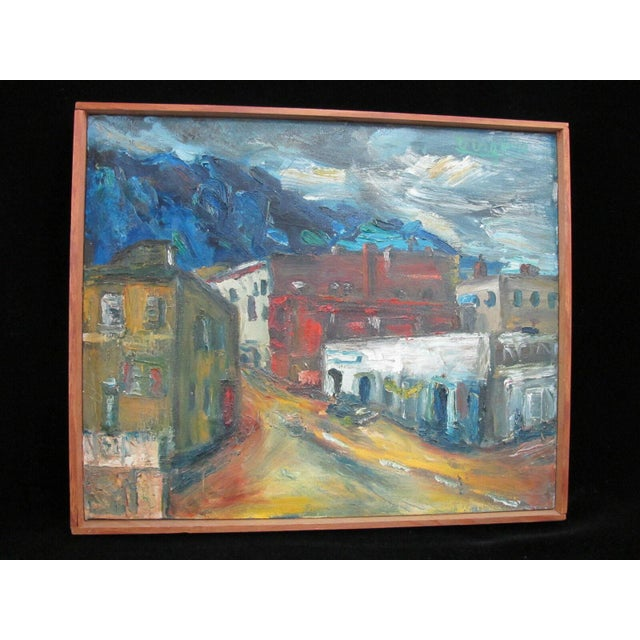 Mid 20th Century Portland Oregon Artist Virginia Holsman Cityscape Front St. Signed Oil Painting For Sale - Image 10 of 10