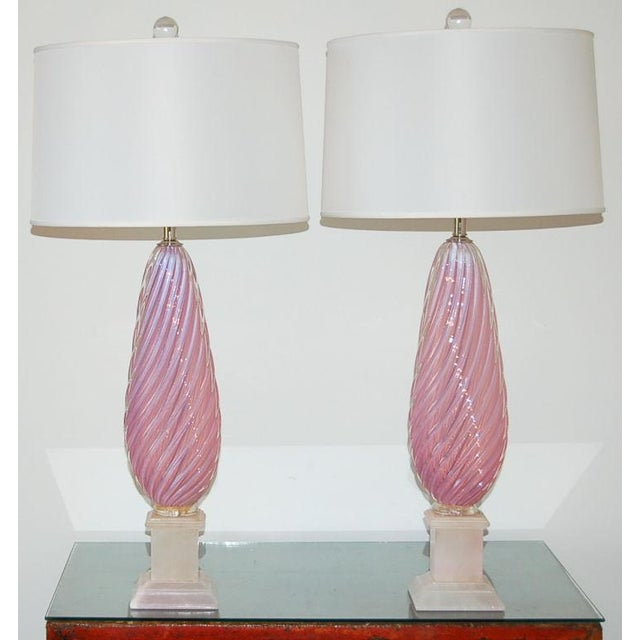 Hollywood Regency Vintage Murano Opaline Glass Table Lamps Pink For Sale - Image 3 of 9