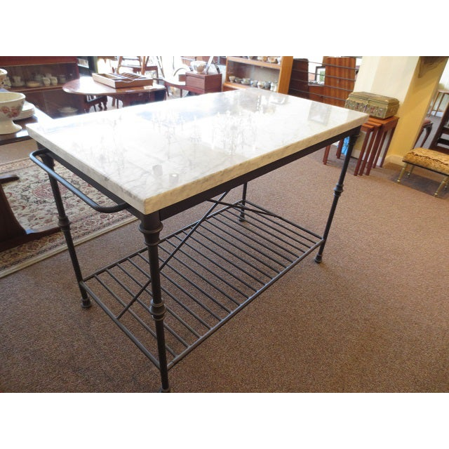 Marble Top Metal Base Kitchen Island - Image 3 of 9