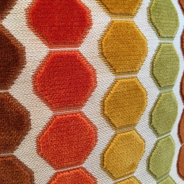 "Retro Geometric Cut Velvet 26"" Pillows - Pair - Image 4 of 4"
