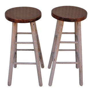 Pair of Rustic Original Painted Bar Stools For Sale