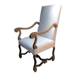 French Painted Finish Throne Chair For Sale