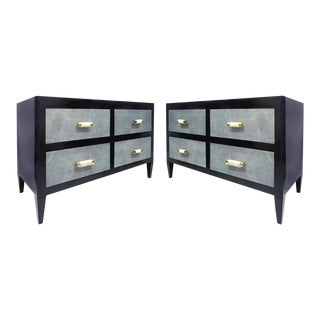 Art Deco Chests of Drawers with Shagreen Clad Drawers & Bone & Silver Handles For Sale