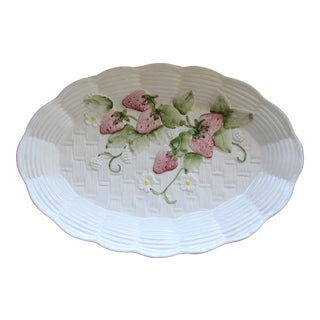 Italian Majolica Strawberry Basketweave Server Plate For Sale