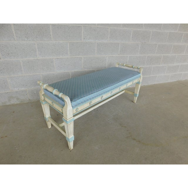 Hickory White Hickory White Regency Style Paint Decorated Window Accent Bench For Sale - Image 4 of 9
