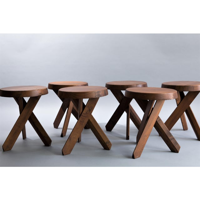 """""""Tabourets S31"""" - Elmwood stools - Set of 4 ONLY Attributed to Pierre Chapo. France, circa 1960."""