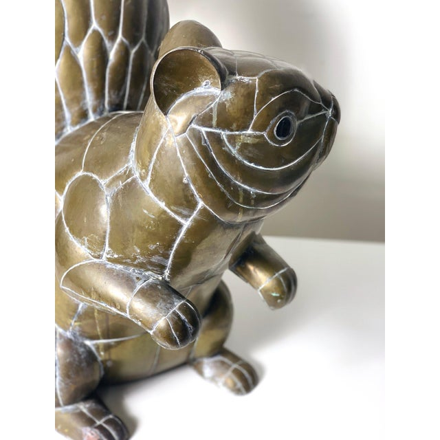 1970s Large Signed Sergio Bustamante Brass Squirrel Sculpture, 1970's For Sale - Image 5 of 10