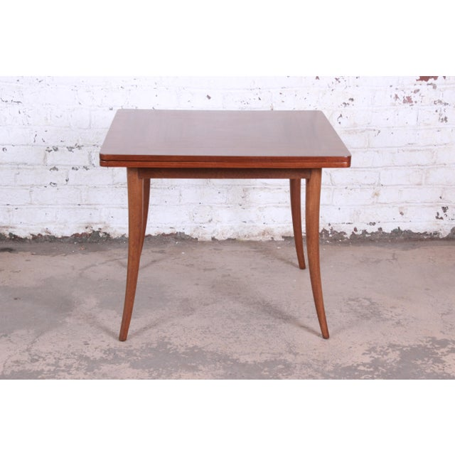 Danish Modern Harvey Probber Mid-Century Modern Mahogany Saber Leg Flip Top Extension Dining or Game Table For Sale - Image 3 of 11