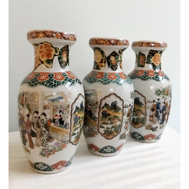 Asian Vintage Satsuma Ceramic Glazed Vases - Set of 3 For Sale - Image 3 of 7
