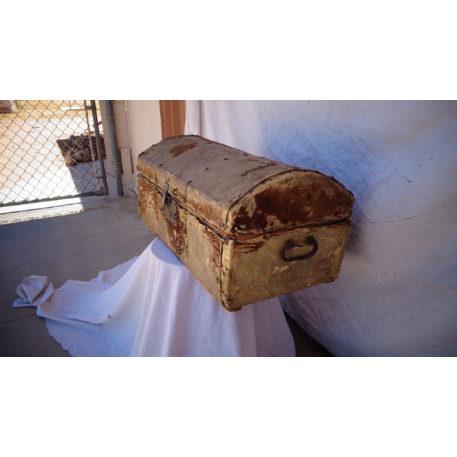 Early 1800's Hide Covered Trunk - Image 3 of 5