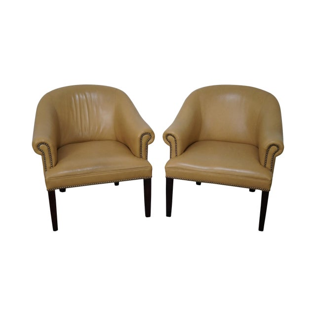 Barrel Back Leather Club Chairs - A Pair For Sale