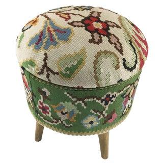 Floral Kilim Ottoman | Kilim Pouf