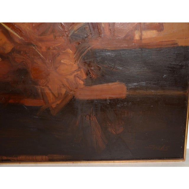 Vintage Mid Modern Abstract Oil Painting c.1970 Classic 1970s abstract oil painting filled with light, color and texture....