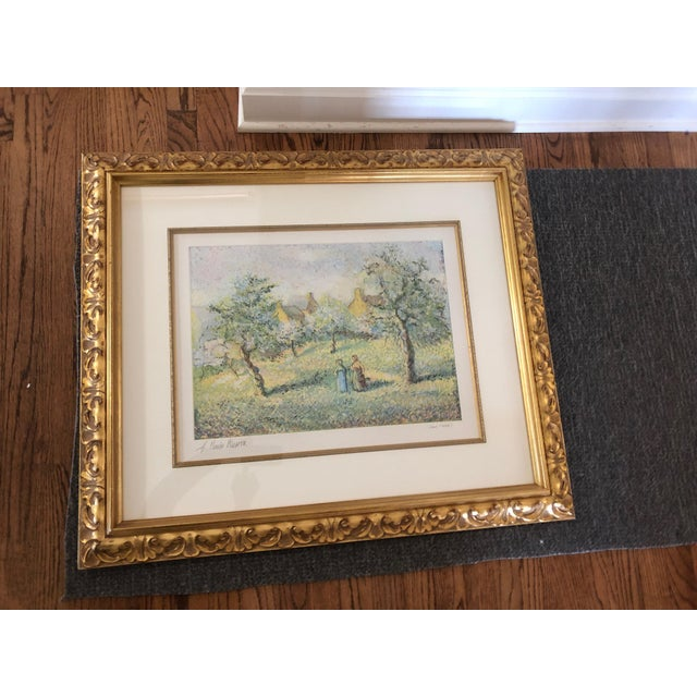 1900s Impressionist Print of Framed Trees in Bloom Aquatint Signed by H Claude Pissarro For Sale - Image 12 of 12