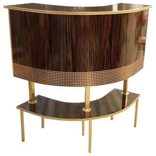 French Mid-Century Macassar Curved Dry Bar For Sale