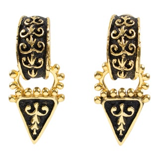 Guy Laroche Paris Renaissance Clip Earrings Dangling Gilt Metal Black Enamel For Sale
