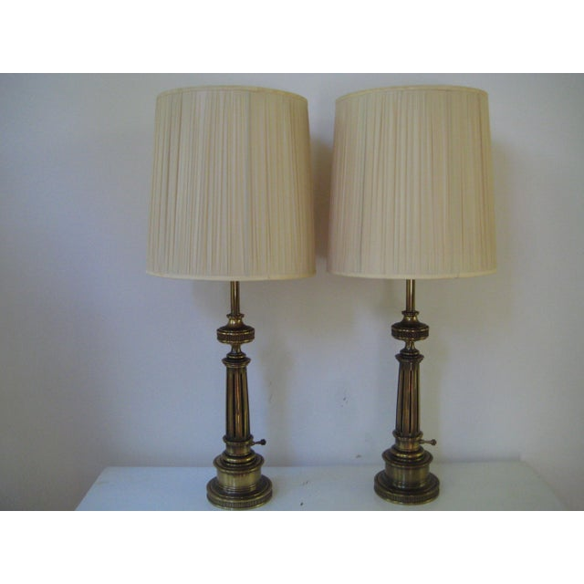 Stiffel Federal Style Brass Table Lamps - A Pair - Image 2 of 7
