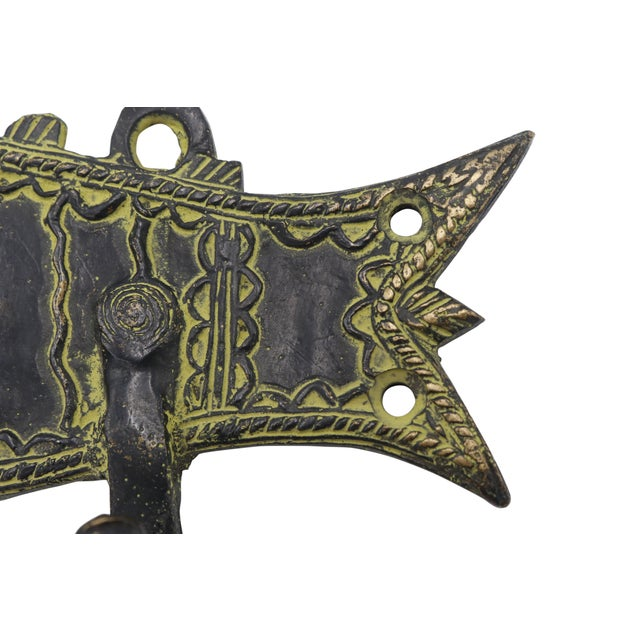 Bohemian Green Brass Fish Wall Hooks For Sale - Image 4 of 5