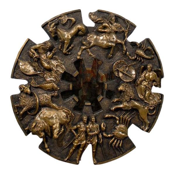 Dramatic Brutalist Zodiac Mirror For Sale