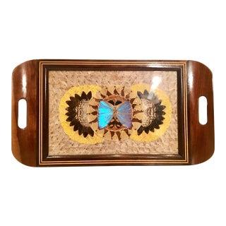 Vintage Mid-Century Brazilian Wood & Brass Butterfly Tray