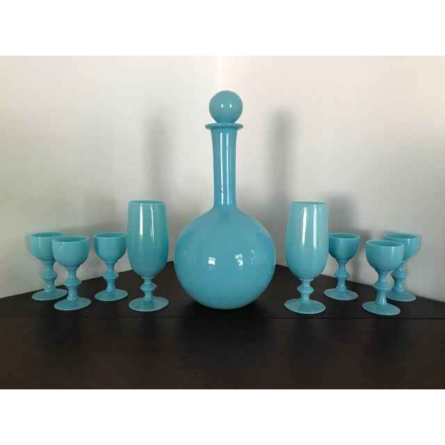 Glass Early 20th Century French Blue Opaline Decanter & Cordial Goblets Glassware by Portieux Vallerysthal - Set of 9 For Sale - Image 7 of 10