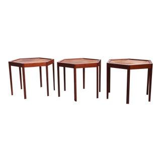 Hans Andersen Artex Brazilian Rosewood stacking Hexagonal Tables - Set of 3 For Sale