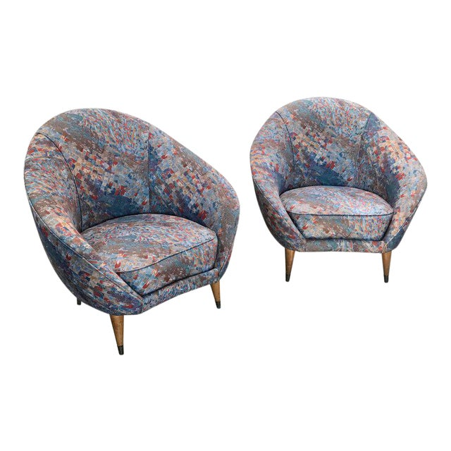 1958 Federico Munari Mid-Century Italian Curved Lounge Chairs For Sale