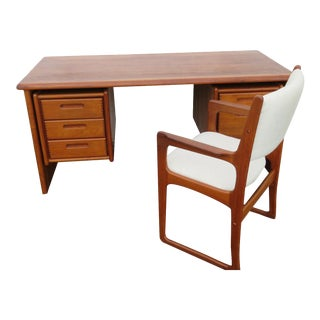 20th Century Danish Modern Benny Linden Teak Writing Desk and Chair - 2 Pieces For Sale