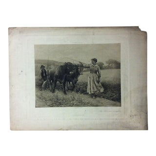"""Antique Photogravure on Paper, """"The Plouman's Daughter"""" from D. Appleton & Co - Circa 1860 For Sale"""