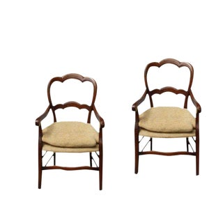 Antique 19th Century French Fruitwood Armchairs - a Pair