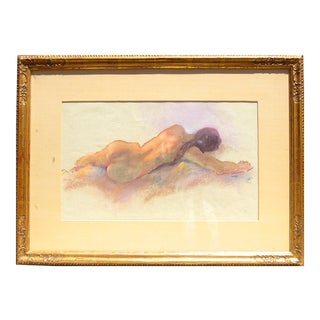 Resting Nude Pastel Drawing Mid-Century Signed Weecks