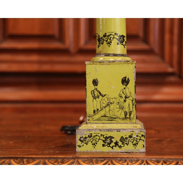 19th Century French Directoire Hand-Painted Green Tole Table Lamp For Sale In Dallas - Image 6 of 10