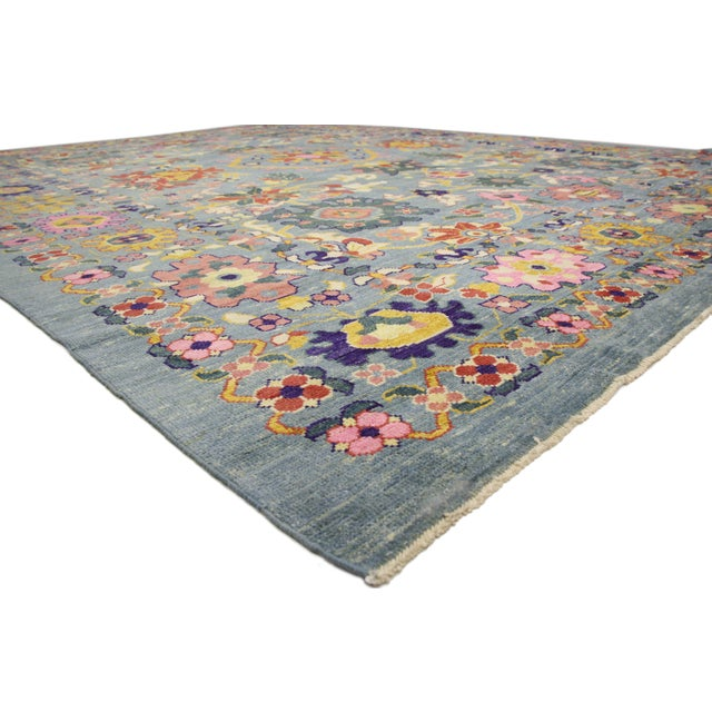 60751, new colorful Turkish Oushak rug with modern contemporary style. Highly stylish yet tastefully casual, this new...